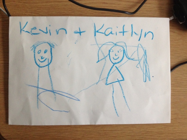 A drawing by Erb boys.  Thank goodness they got the hair on the side of my head correct!